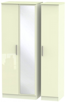 Knightsbridge High Gloss Cream 3 Door Tall Mirror Wardrobe