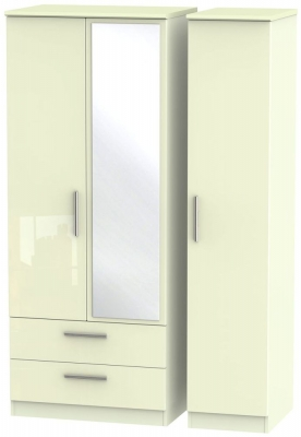 Knightsbridge High Gloss Cream 3 Door 2 Left Drawer Combi Wardrobe