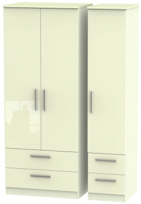 Knightsbridge High Gloss Cream 3 Door 4 Drawer Wardrobe