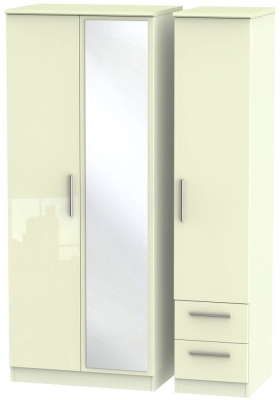 Knightsbridge High Gloss Cream 3 Door 2 Right Drawer Combi Wardrobe
