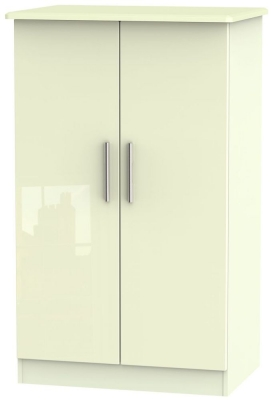 Knightsbridge High Gloss Cream 2 Door Midi Wardrobe
