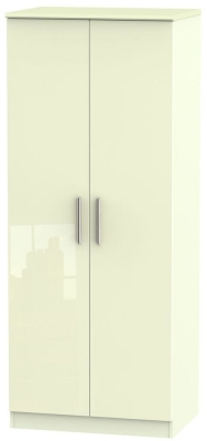 Knightsbridge High Gloss Cream Wardrobe - 2ft 6in Plain