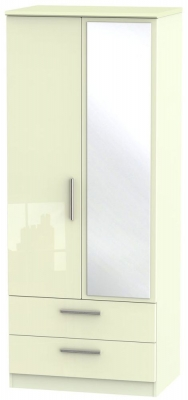Knightsbridge High Gloss Cream Wardrobe - 2ft 6in with 2 Drawer and Mirror