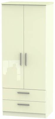 Knightsbridge High Gloss Cream Wardrobe - 2ft 6in with 2 Drawer