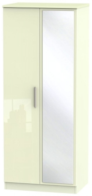 Knightsbridge High Gloss Cream 2 Door Mirror Wardrobe