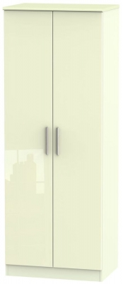 Knightsbridge High Gloss Cream 2 Door Tall Wardrobe