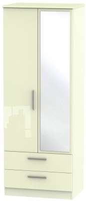 Knightsbridge High Gloss Cream 2 Door Tall Combi Wardrobe