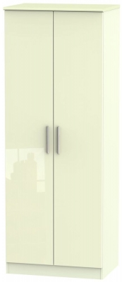 Knightsbridge High Gloss Cream 2 Door Tall Hanging Wardrobe