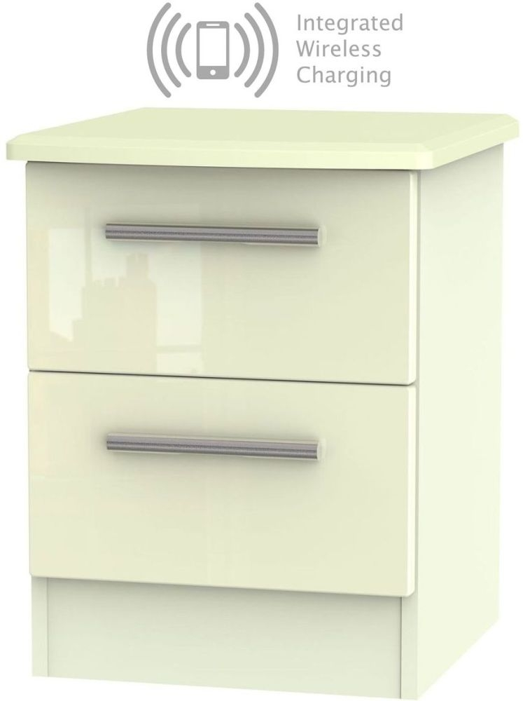 Knightsbridge High Gloss Cream 2 Drawer Bedside Cabinet with Integrated Wireless Charging