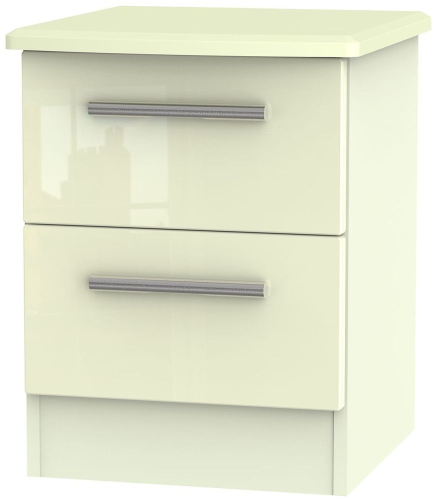 Knightsbridge High Gloss Cream Bedside Cabinet - 2 Drawer Locker