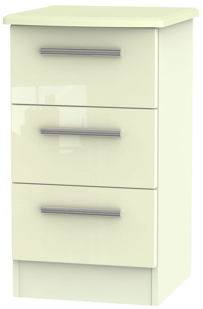 Knightsbridge High Gloss Cream Bedside Cabinet - 3 Drawer Locker