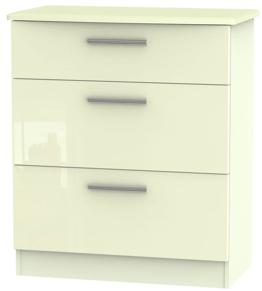 Knightsbridge High Gloss Cream Chest of Drawer - 3 Drawer Deep