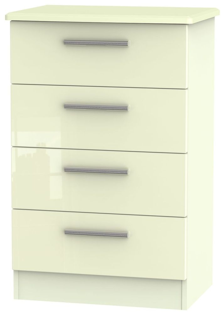Knightsbridge High Gloss Cream 4 Drawer Midi Chest