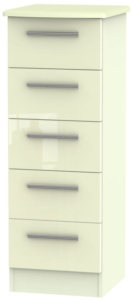 Knightsbridge High Gloss Cream Chest of Drawer - 5 Drawer Locker