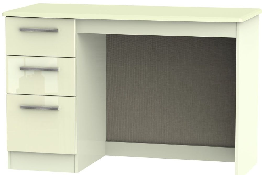 Knightsbridge High Gloss Cream Desk - 3 Drawer