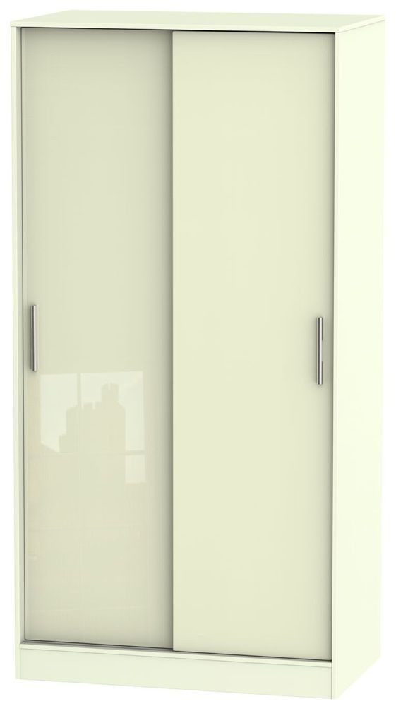 Knightsbridge High Gloss Cream 2 Door Wide Sliding Double Wardrobe