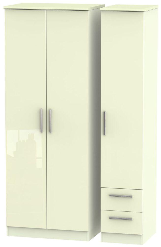 Knightsbridge High Gloss Cream Triple Wardrobe - Tall Plain with 2 Drawer