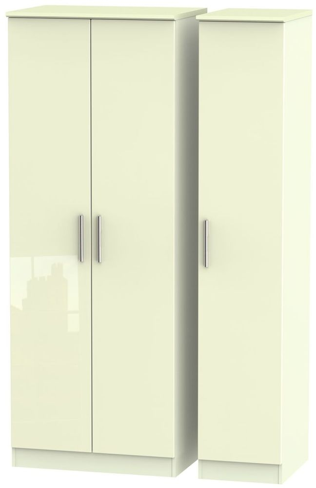 Knightsbridge High Gloss Cream Triple Wardrobe - Tall Plain