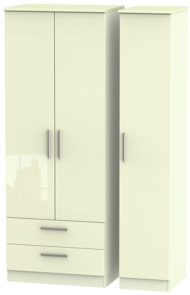 Knightsbridge High Gloss Cream Triple Wardrobe - Tall with 2 Drawer