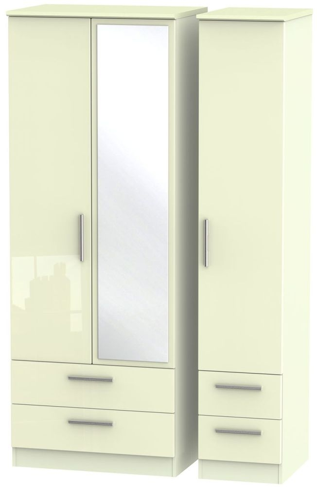 Knightsbridge High Gloss Cream Triple Wardrobe - Tall with Drawer and Mirror