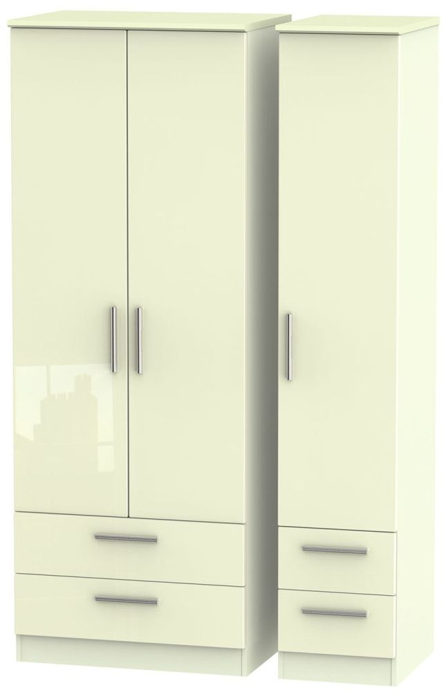Knightsbridge High Gloss Cream Triple Wardrobe - Tall with Drawer