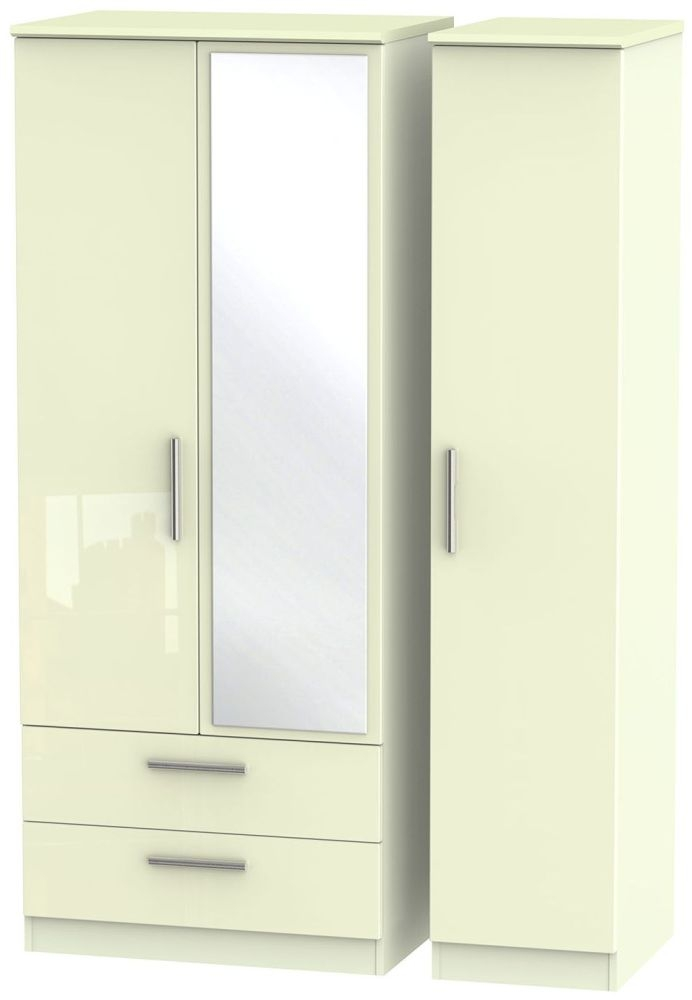 Knightsbridge High Gloss Cream Triple Wardrobe with 2 Drawer and Mirror