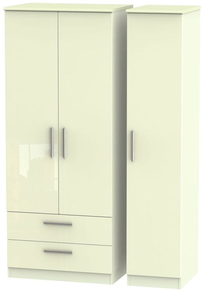Knightsbridge High Gloss Cream 3 Door 2 Left Drawer Wardrobe