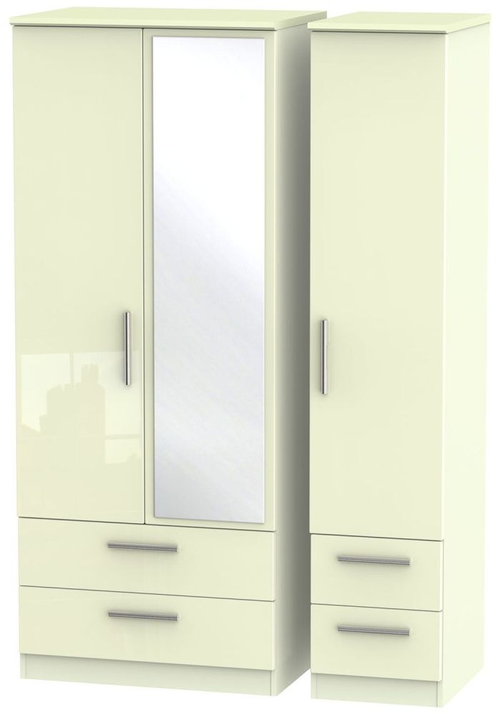 Knightsbridge High Gloss Cream Triple Wardrobe with Drawer and Mirror