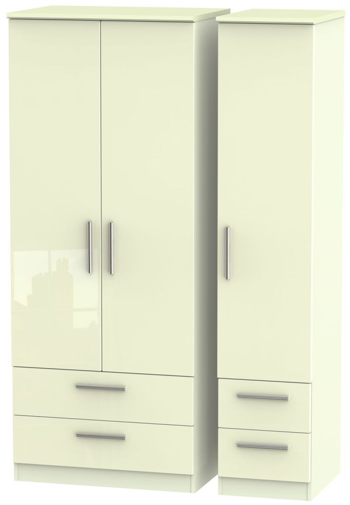 Knightsbridge High Gloss Cream Triple Wardrobe with Drawer