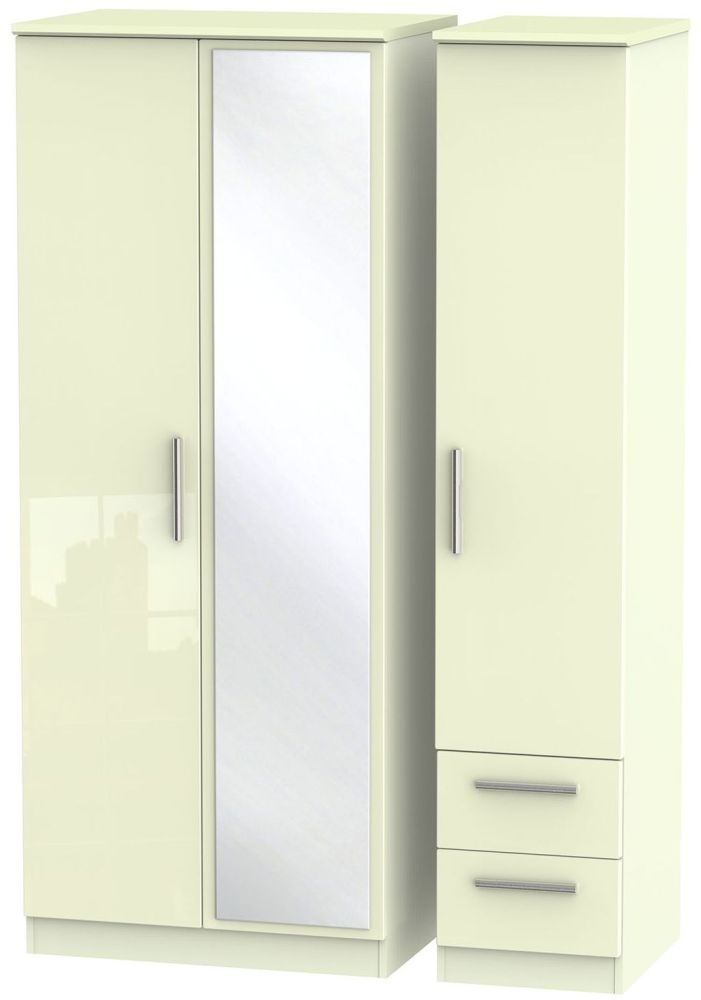 Knightsbridge High Gloss Cream Triple Wardrobe with Mirror and 2 Drawer