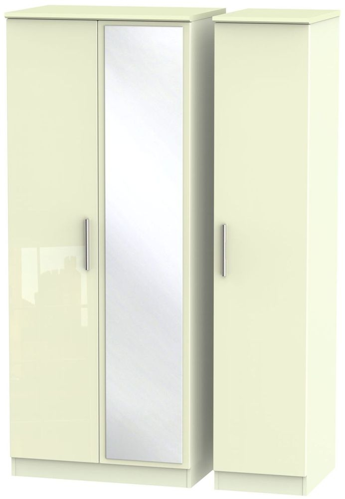 Knightsbridge High Gloss Cream 3 Door Mirror Triple Wardrobe
