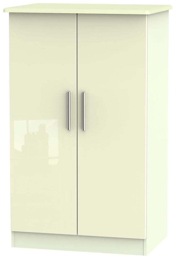 Knightsbridge High Gloss Cream 2 Door Plain Midi Wardrobe