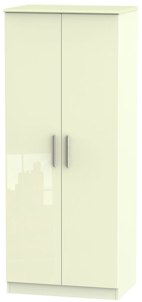 Knightsbridge High Gloss Cream 2 Door Wardrobe