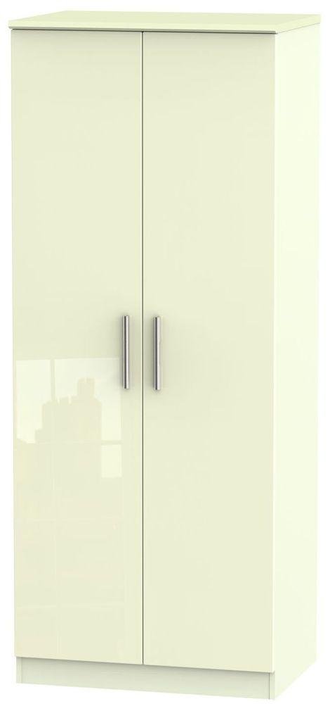 Knightsbridge High Gloss Cream Wardrobe - 2ft 6in Plain