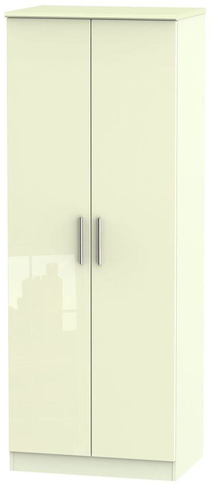 Knightsbridge High Gloss Cream Wardrobe - Tall 2ft 6in Plain