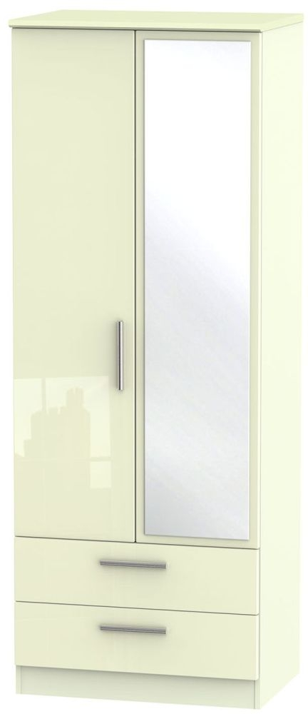 Knightsbridge High Gloss Cream Wardrobe - Tall 2ft 6in with 2 Drawer and Mirror