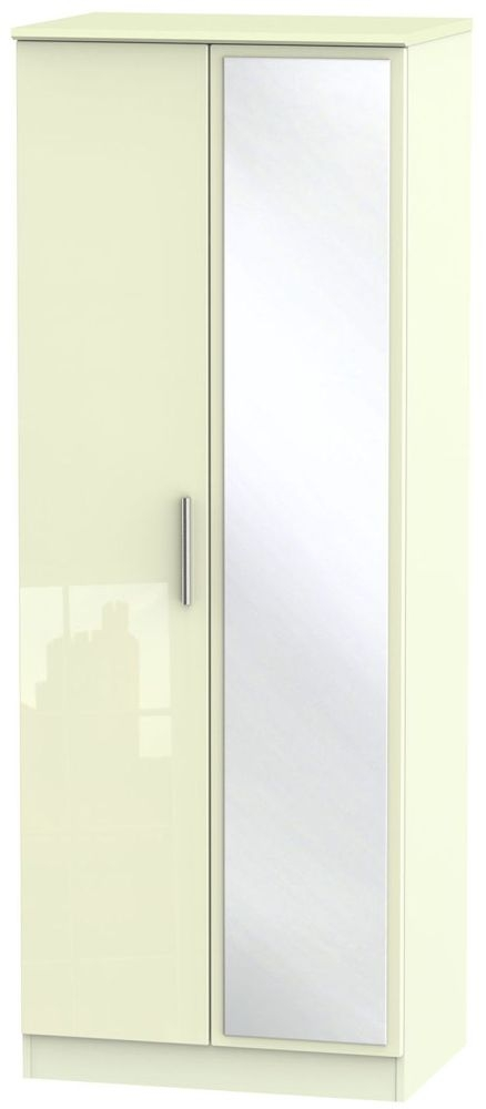 Knightsbridge High Gloss Cream Wardrobe - Tall 2ft 6in with Mirror