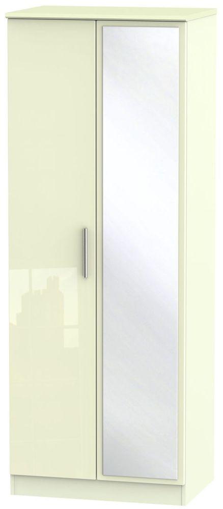 Knightsbridge High Gloss Cream 2 Door Tall Mirror Wardrobe