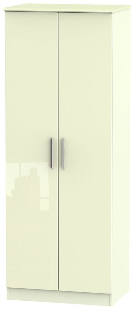 Knightsbridge High Gloss Cream Wardrobe - Tall 2ft 6in with Double Hanging