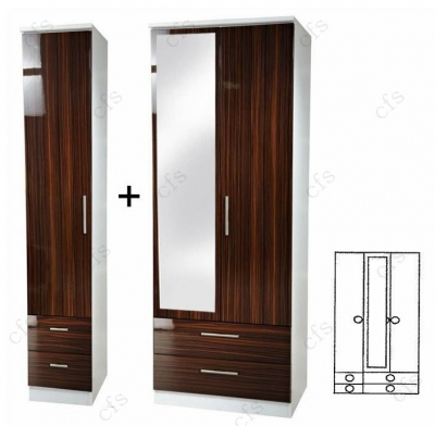 Knightsbridge Ebony 3 Door Combi Wardrobe with Drawer and Mirror