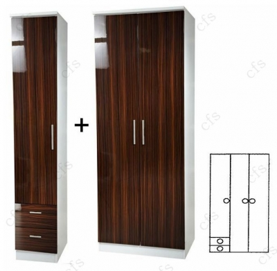 Knightsbridge Ebony 3 Door Plain Wardrobe with Drawer