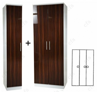 Knightsbridge Ebony 3 Door Plain Wardrobe