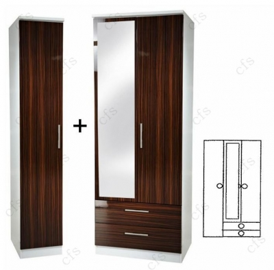 Knightsbridge Ebony 3 Door Wardrobe with 2 Drawer and Mirror