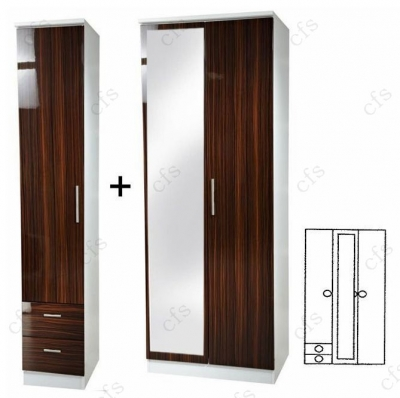 Knightsbridge Ebony 3 Door Wardrobe with Mirror and Drawer