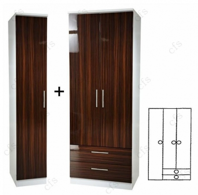 Knightsbridge Ebony 3 Wardrobe wit 2 Drawer