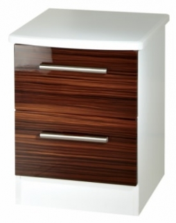 Knightsbridge Ebony Bedside Cabinet - 2 Drawer
