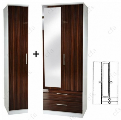 Knightsbridge Ebony Tall 3 Door Wardrobe With 2 Drawer and Mirror