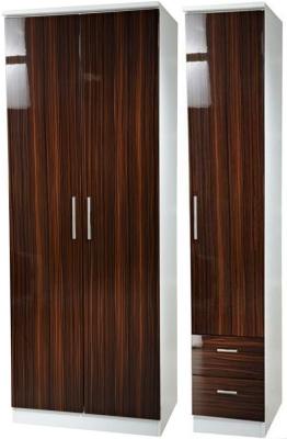 Knightsbridge Ebony Triple Wardrobe - Plain with 2 Drawer