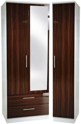 Knightsbridge Ebony Triple Wardrobe with 2 Drawer and Mirror