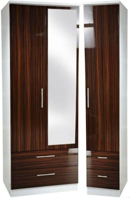 Knightsbridge Ebony Triple Wardrobe with Drawer and Mirror